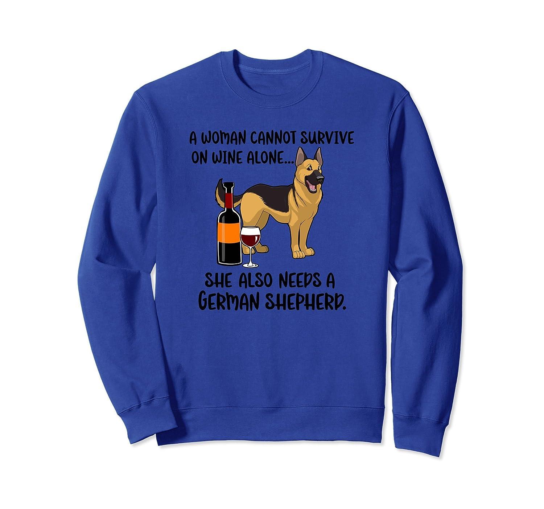 Funny Wine & German Shepherd Sweatshirt for Dog Mom-mt