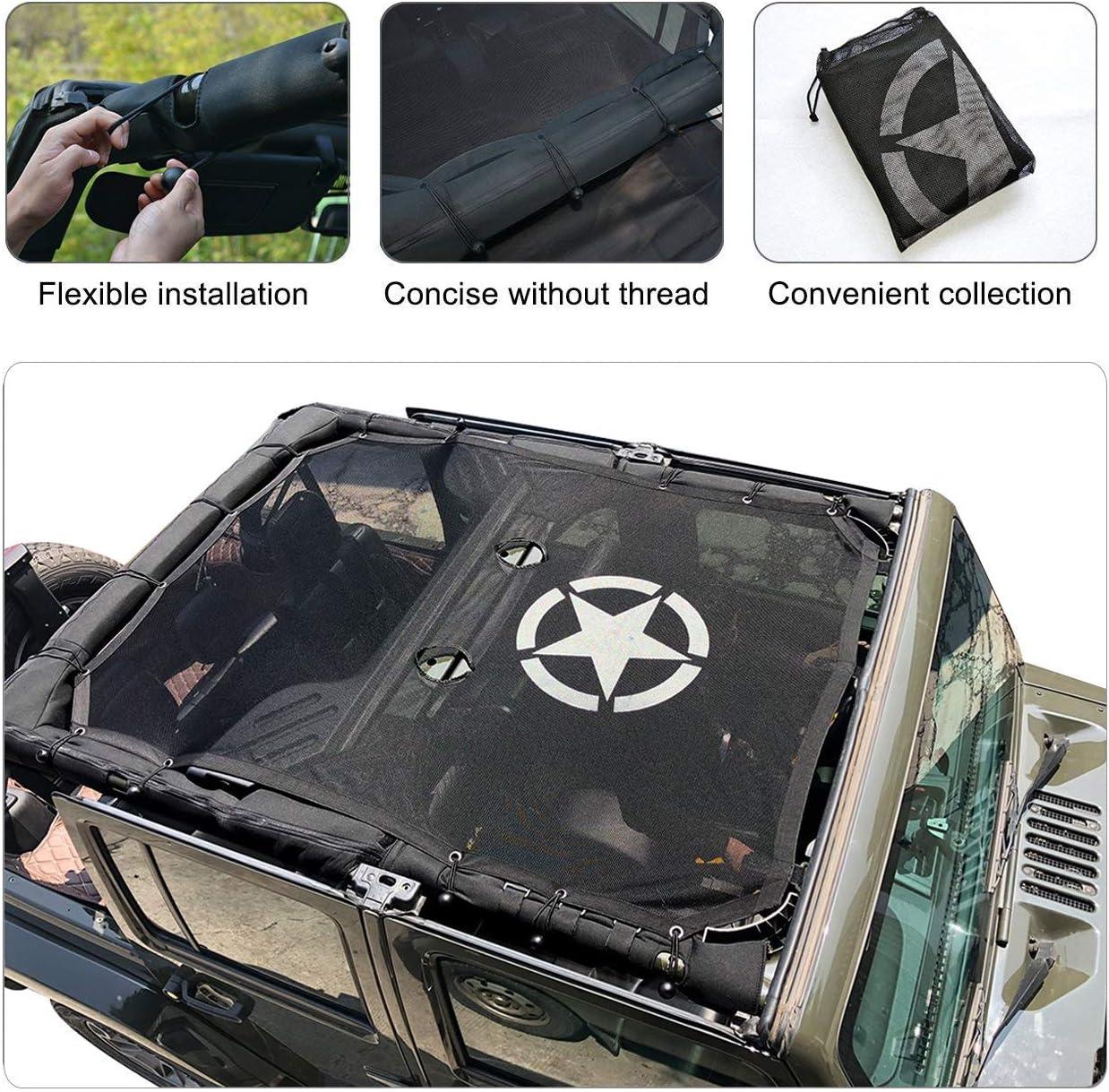 L/&U Top Sonnenschutz Dachabdeckung Dach Anti UV Sonnenschutz Mesh Net f/ür Jeep Wrangler JK JKU 2007-2017,Frontseat2door//4door