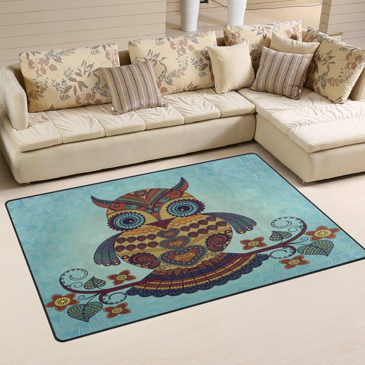 WOZO Vintage Tribal Owl Bird Flower Area Rug Rugs Non-Slip Floor Mat Doormats Living Room Bedroom 60 x 39 inches