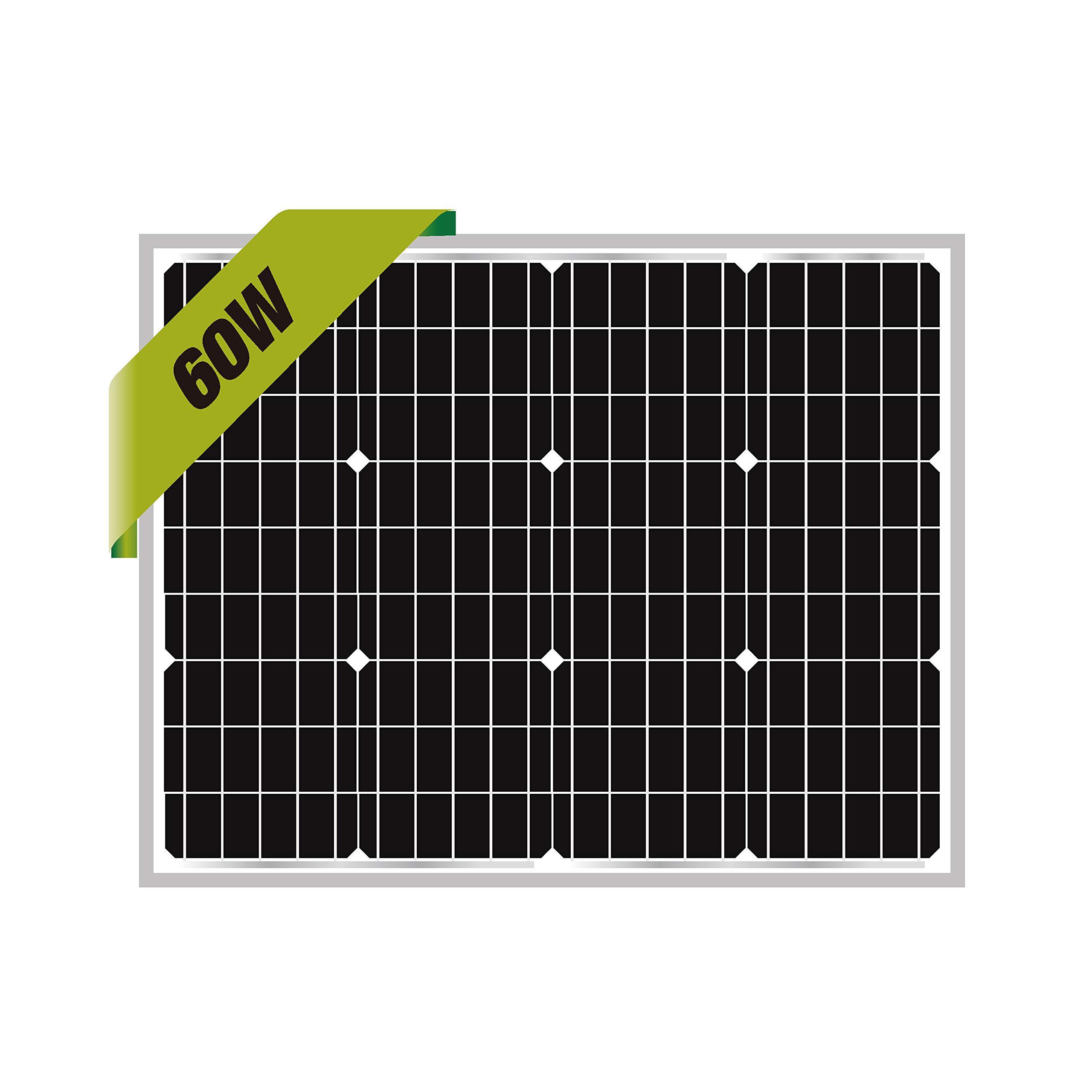 Newpowa 60W Mono Solar Panel 60 Watts Monocrystalline for RV,Boat,Home Off Grid System (Same Size as 50W) by Newpowa