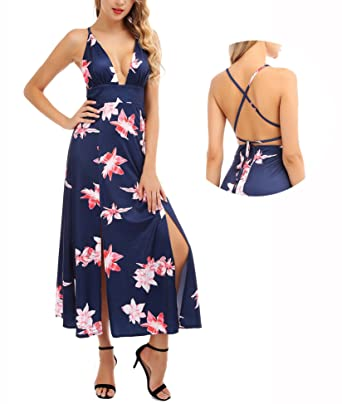 84a9902c730 Women s Sexy Halter Strap Maxi Dress Deep V Neck Backless Floral Print  Split Party Beach Dresses at Amazon Women s Clothing store