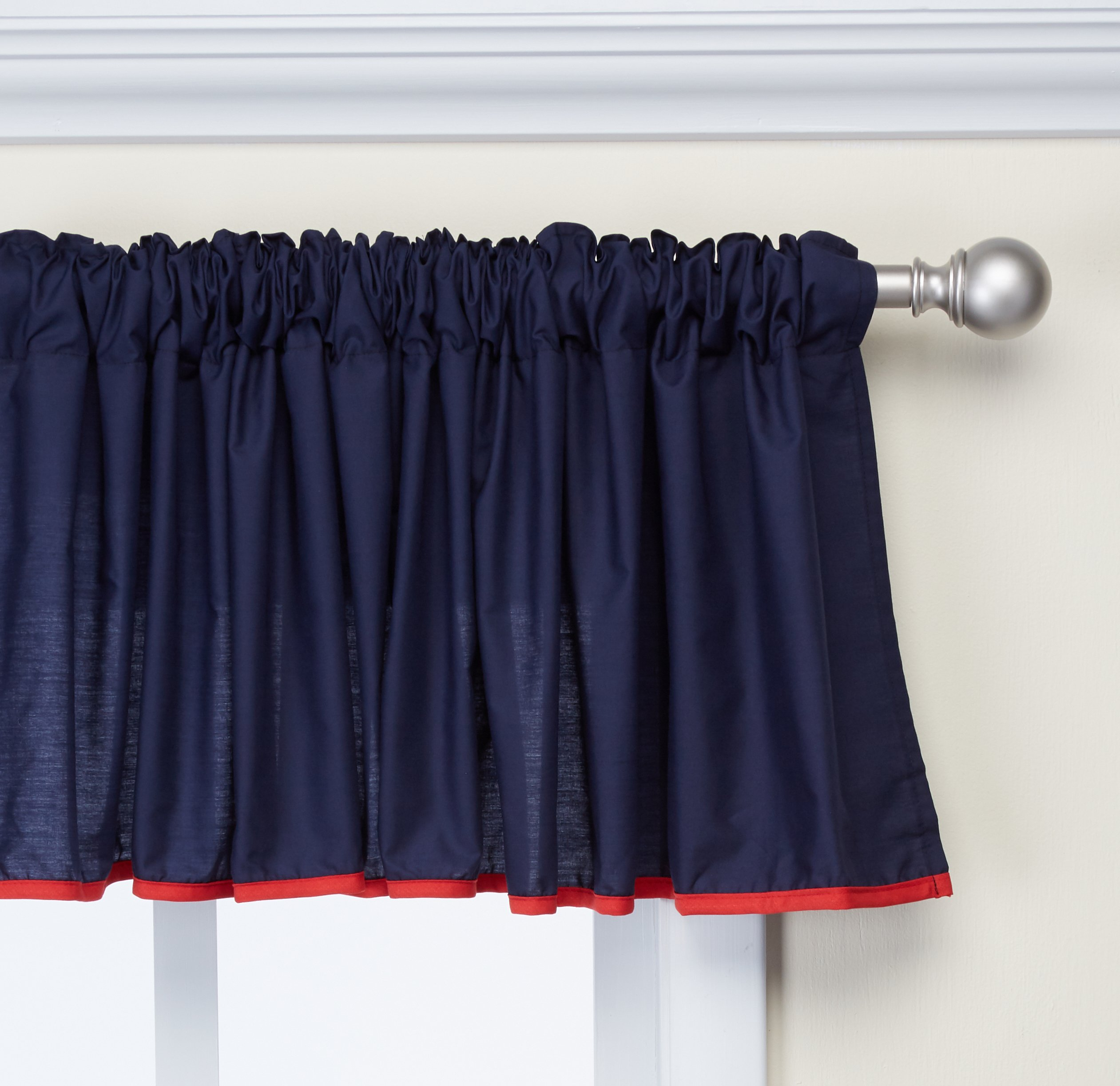 Baby Doll Bedding  Solid Two tone  Window Valance, Navy/Red