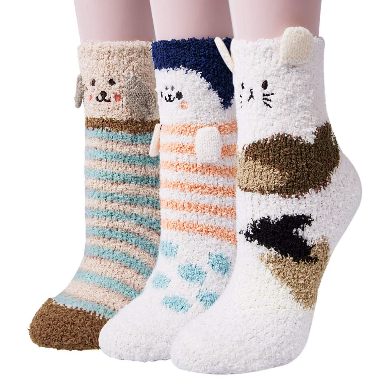 3 Pairs Womens Fuzzy Soft Slipper Socks Home Sleeping Winter Warm Fluffy Cute Animal Socks