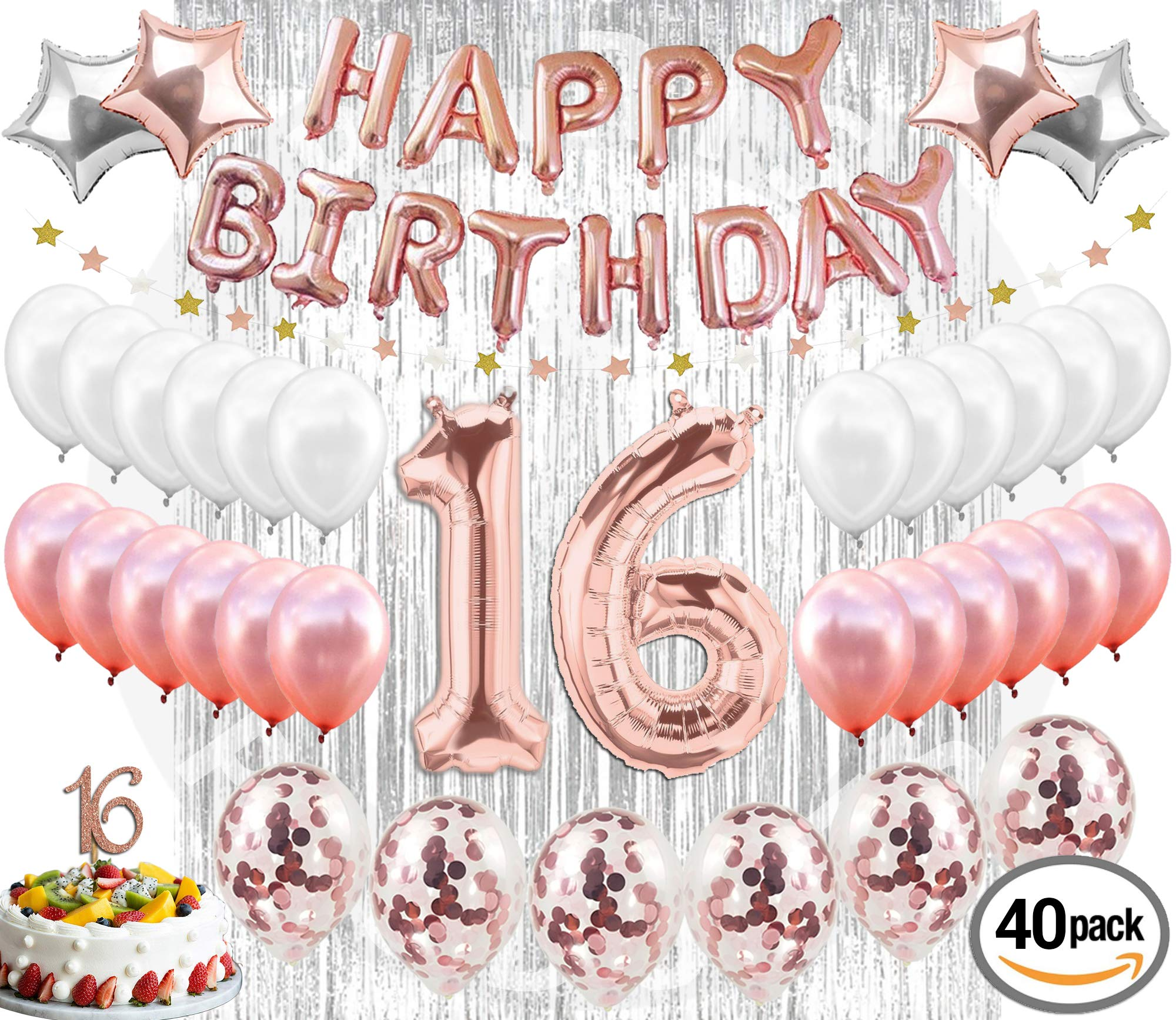 16th Birthday Decorations Party Supplies Sweet 16 Birthday Balloons  Rose Gold Confetti Balloons 16 Cake Topper Rose Gold  Metallic Silver Curtain for Photo Booth and Props  Sweet Sixteen Decorations