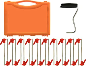 Primal Force Heavy Duty Ground Stakes/Pegs for Tents - Screw Design, Rust Resistant, 20 Pack Steel Metal Spikes - Heavy Duty Anchor Pegs - Camping Gear