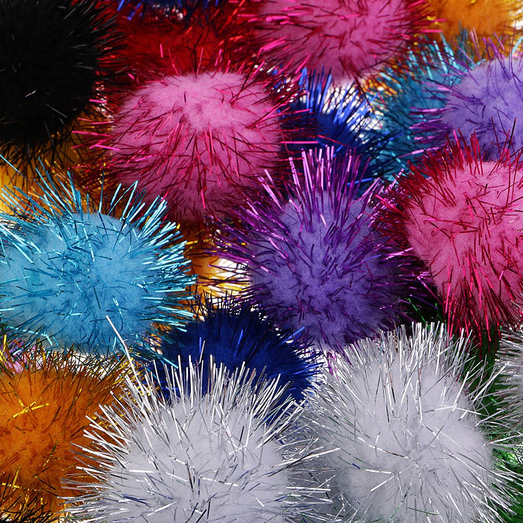 home party decoration arts and crafts Baoblaze 100 Pack IRIDESCENT GLITTER POM POM BALLS 35mm Sparkly Small Puff Kitten Cat Toys DIY projects Christmas Party embellishments