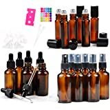 18 Amber Glass Essential Oil Bottles Pack - 6 amber glass eye dropper bottles (1 oz) - 6 amber glass sprayer bottles (2 oz) - 6 amber glass stainless roller bottles for essential oil (0.34 oz)