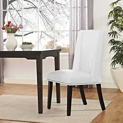 Modway MO-EEI-2232-WHI Baron Modern Tall Back Wood Faux Leather Upholstered, Dining Chair, White
