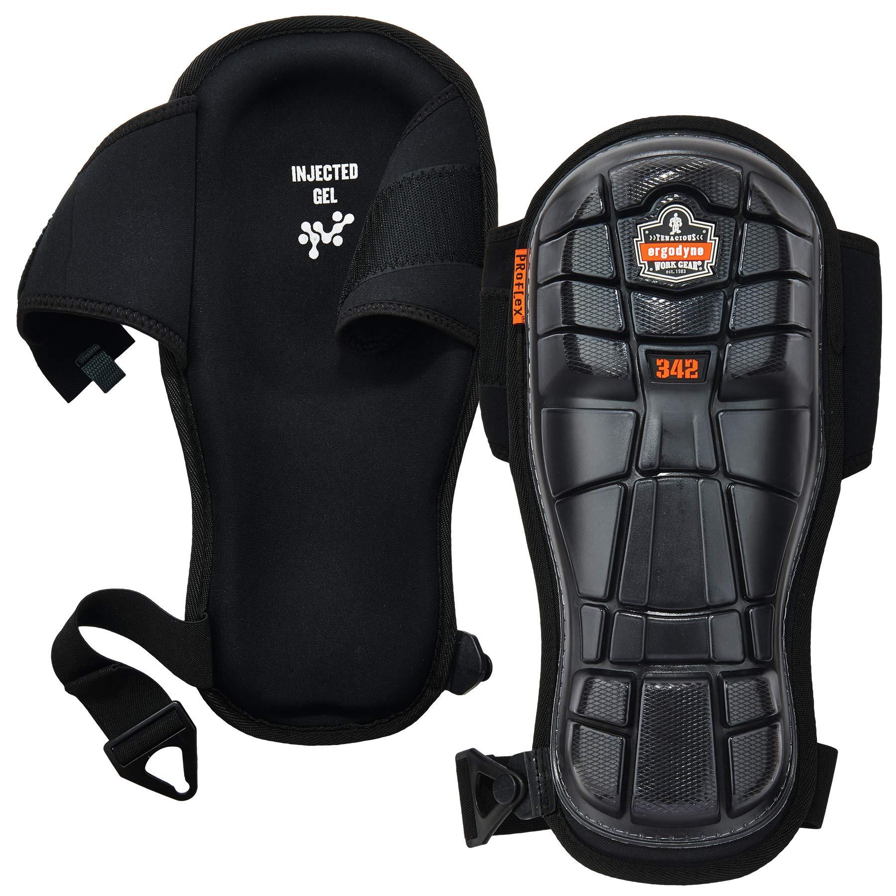Ergodyne ProFlex 342 Professional Knee Pads, Protective Extra Long Cap, Injected Gel Padded Technology, Adjustable Straps, Black by Ergodyne