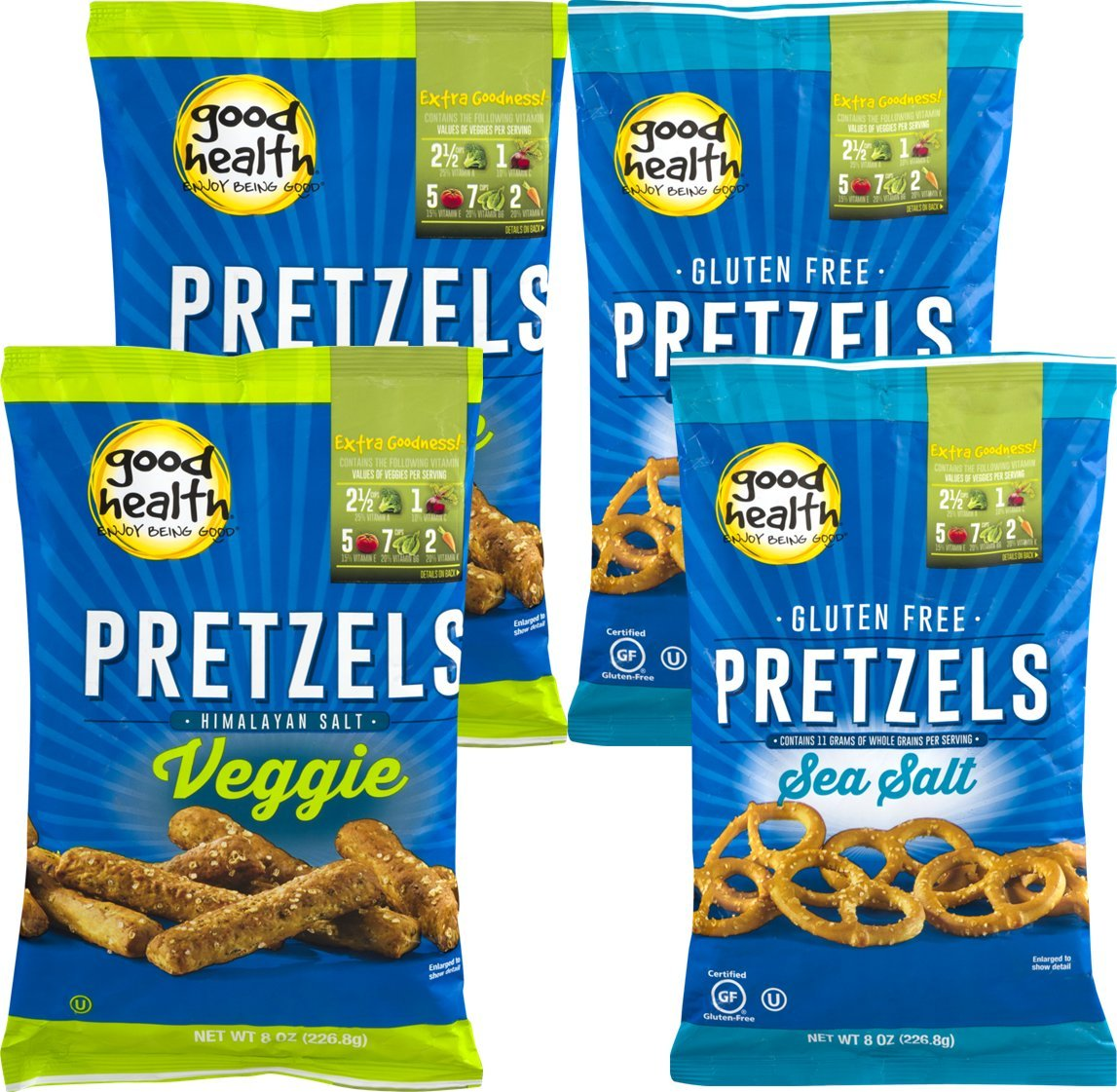 Good Health Gluten Free Pretzels & Good Health Veggie Pretzels Variety 4-Pack