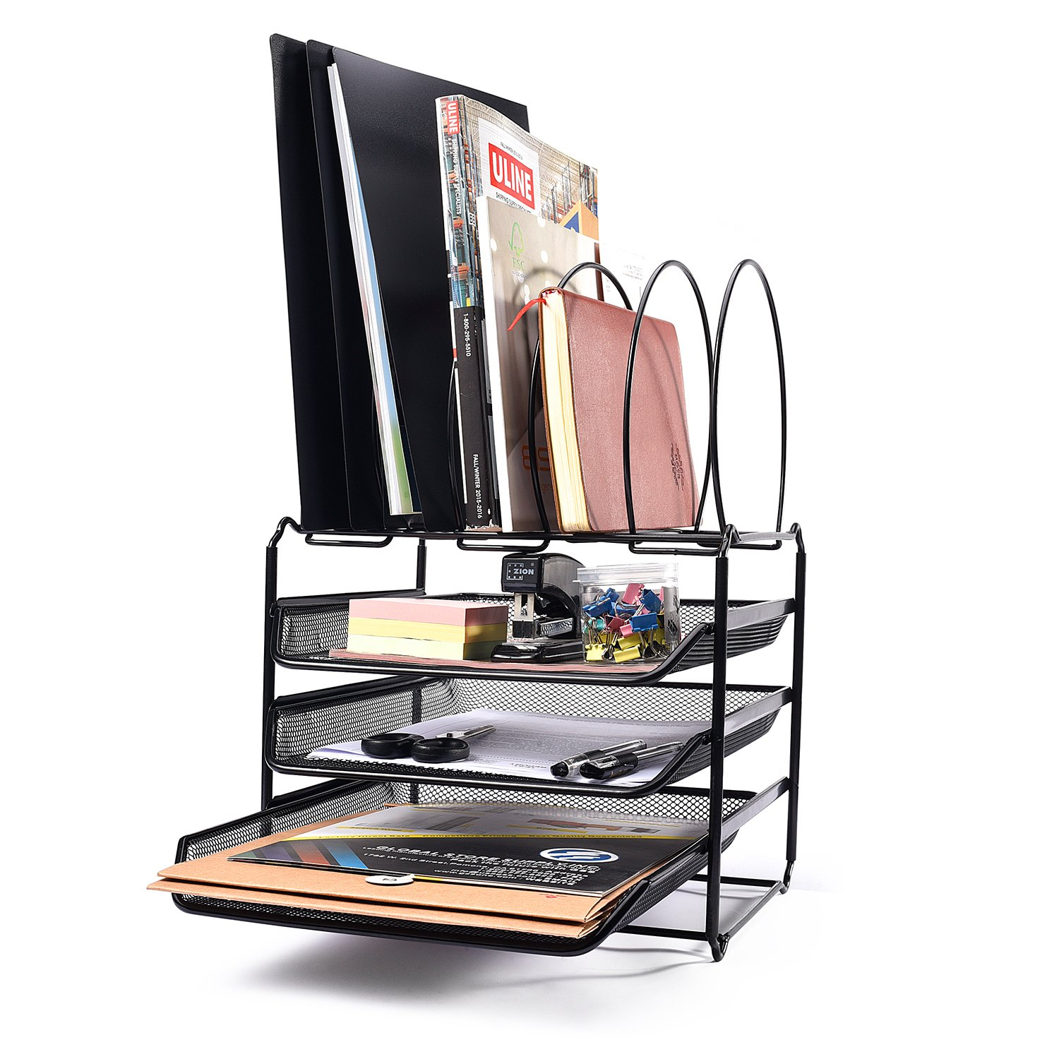 Acko 3 Tier Mesh File Organizer Office Desk Organizer Document Letter Tray Organizer with 5 Tiered Sections ,Black