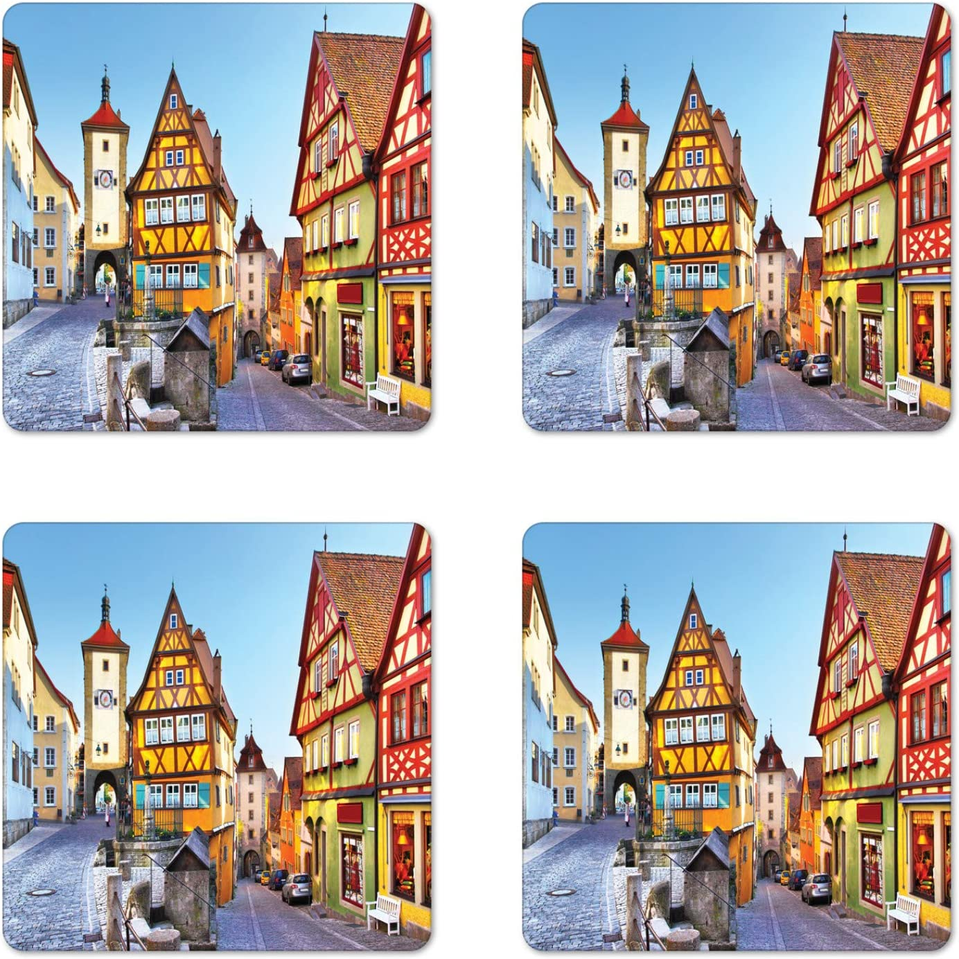 Ambesonne German Coaster Set of 4, Rothenburg ob der Tauber Bavaria Germany Famous Street with Colorful Classic Houses, Square Hardboard Gloss Coasters for Drinks, Standard Size, Taupe Red