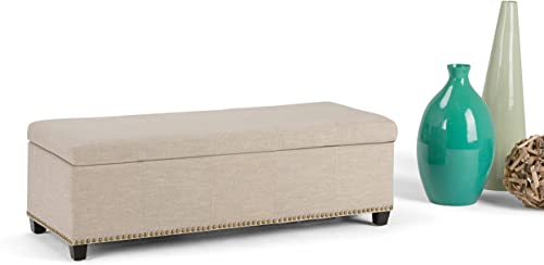 SIMPLIHOME Kingsley 48 inch Wide Transitional Rectangle Lift Top Storage Ottoman
