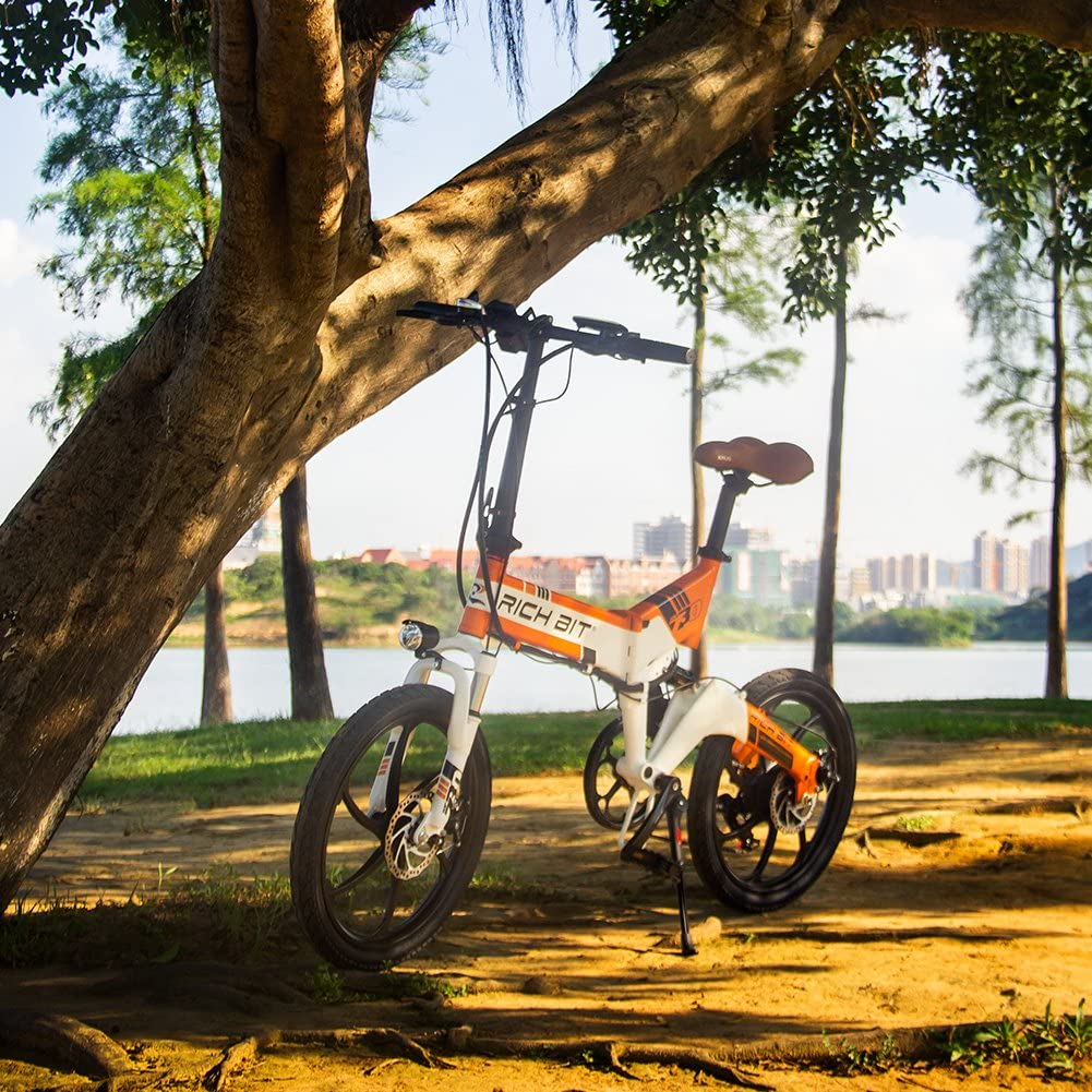 amortiguadores de choque completos 7 velocidades de simano con opci/& pantalla RICH BIT RT730 Bicicleta el/éctrica plegable de 20 pulgadas bater/ía de litio de 250 w * 8ah marco de aleaci/ón de aluminio mtb bicicleta el/éctrica