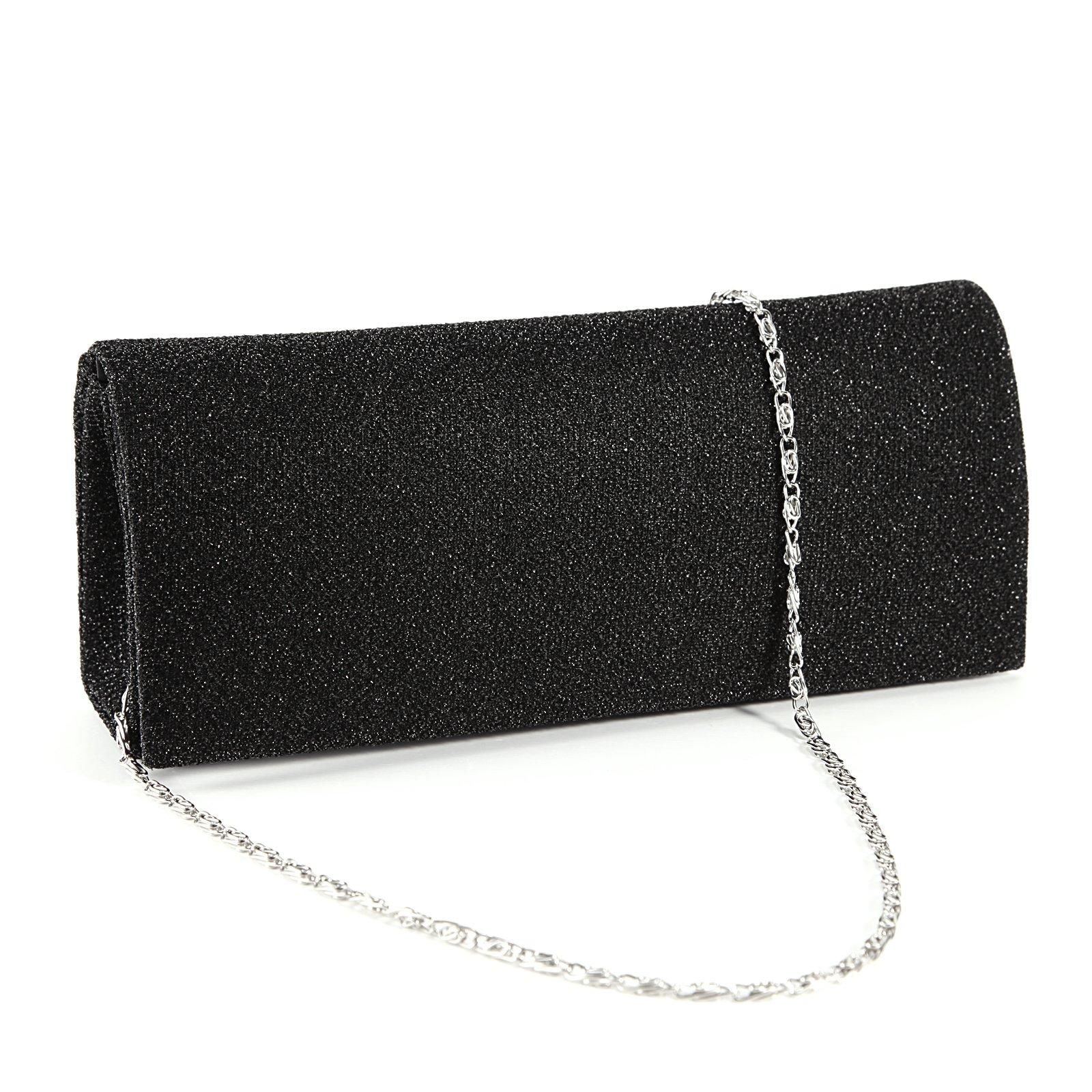 Dazzling Glitter-Tone Fine Lines Women Clutch Hand Carry Bag Prom Evening Purse