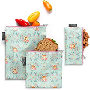 Simple Modern Ellie Reusable Snack Sandwich Bag Food Storage, 3 Pack, Fox and the Flower