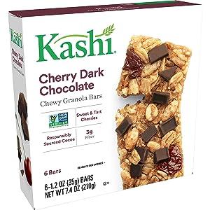 Kashi Chewy Cherry Dark Chocolate Granola Bars - Vegan, Box of 6(Pack of 8)