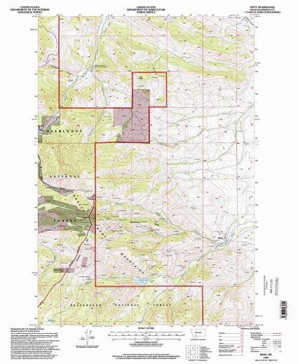 Pony Montana Map.Amazon Com Yellowmaps Pony Mt Topo Map 1 24000 Scale 7 5 X 7 5