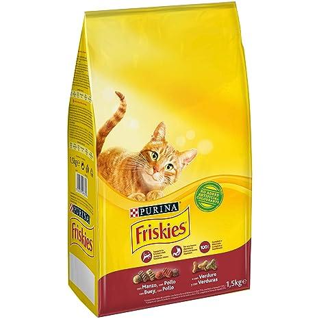 Purina Friskies Pienso para Gato Adulto Buey, Pollo y Verduras 1,5 Kg