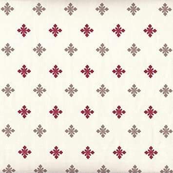 Curtains Ideas christmas curtain fabric : Authentic French Christmas Fabric | Snowflakes - Ecru with Red ...