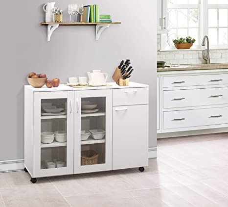 Amazon Com Kings Brand Furniture Buffet Server Sideboard Kitchen Storage Cabinet White Buffets Sideboards