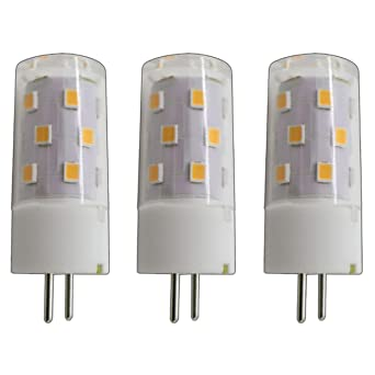 3x Stück - G6.35/ GX6.35 LED 5 Watt warmweiß 2800K A++ 12V~ AC/DC Wechselspannung 360° Stiftsockel Leuchtmittel Lampensockel