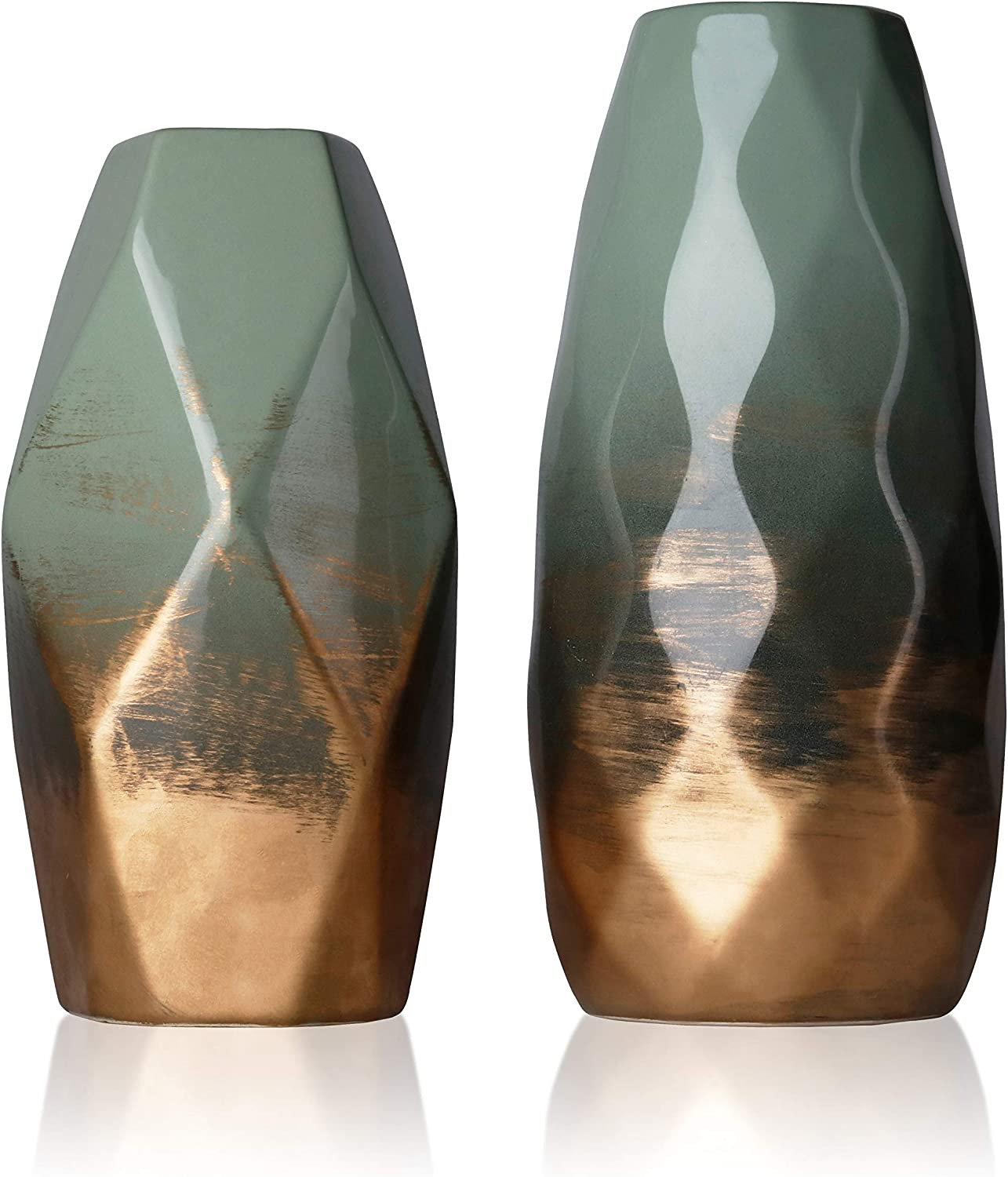 TERESA'S COLLECTIONS Set of 2 Ceramic Flower Vases, Green and Gold Handmade Modern Geometric Decorative Vases for Kitchen,Office,Wedding or Living Room