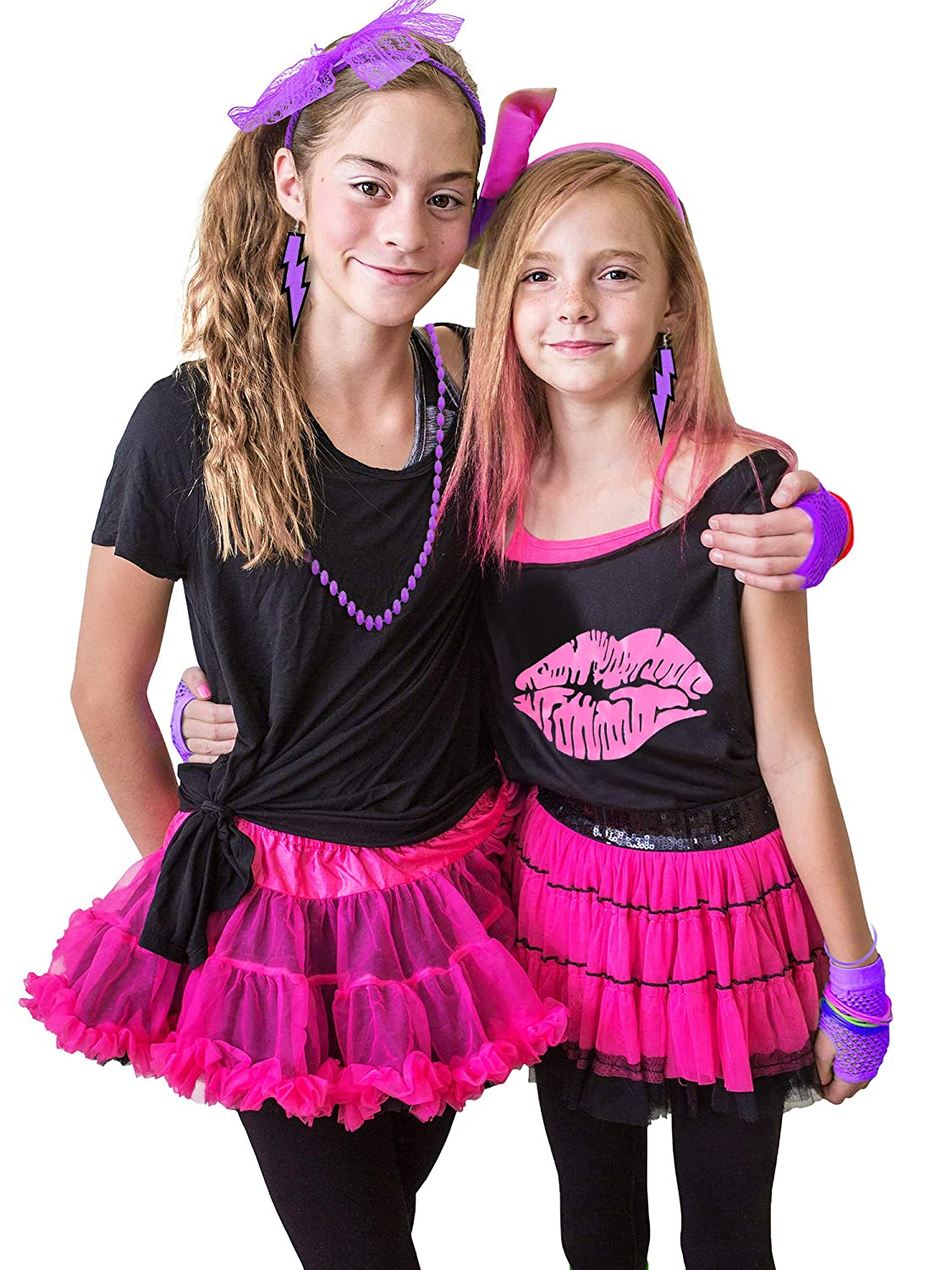 80s Kids Costume Accessory Set Earring and Lace Headband Gloves Lips Print Off T-Shirt Bracelet Beaded Necklace