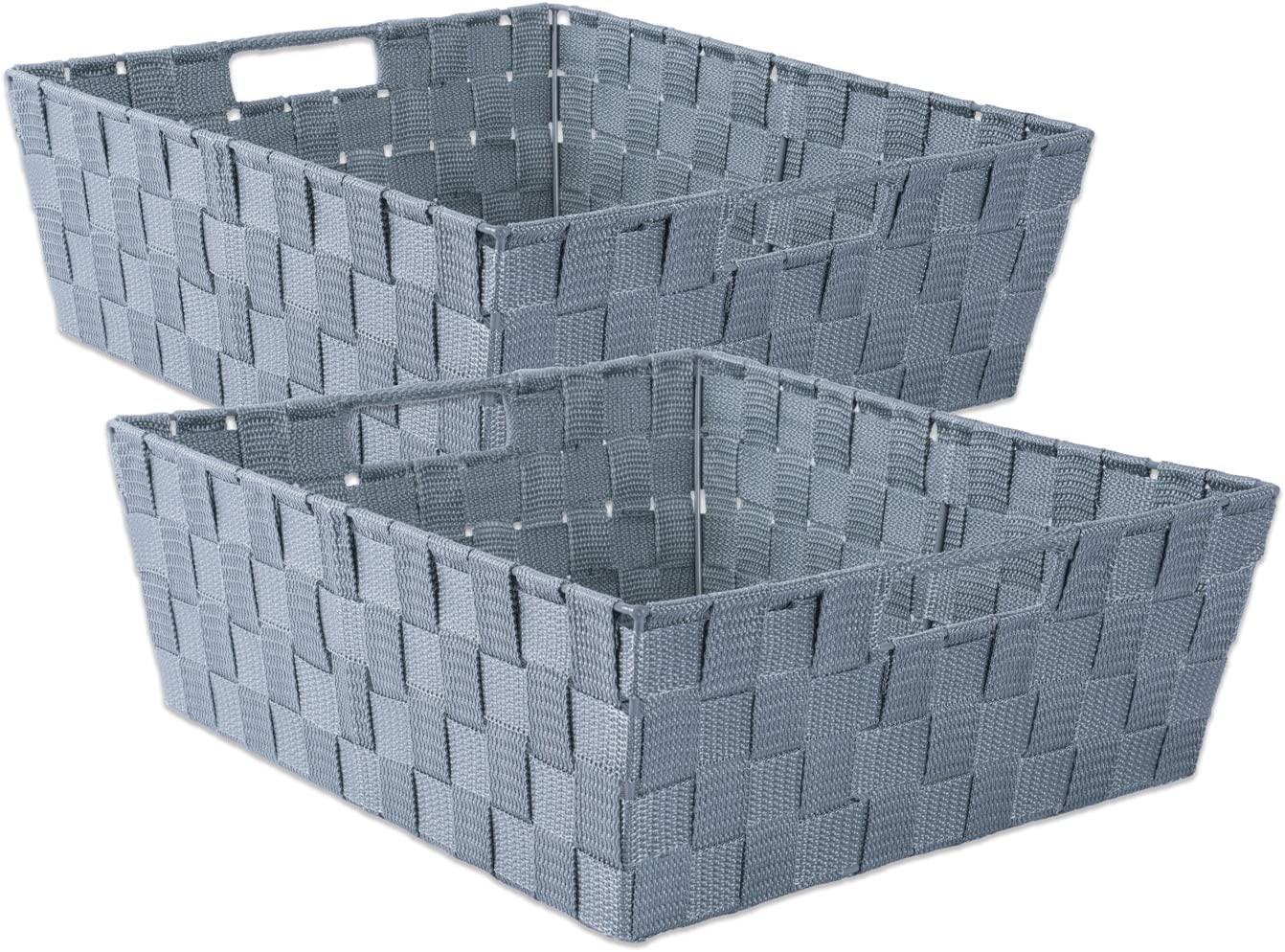 "DII Durable Trapezoid Woven Nylon Storage Bin or Basket for Organizing Your Home, Office, or Closets (Tray - 13x15x5"") Gray - Set of 2"