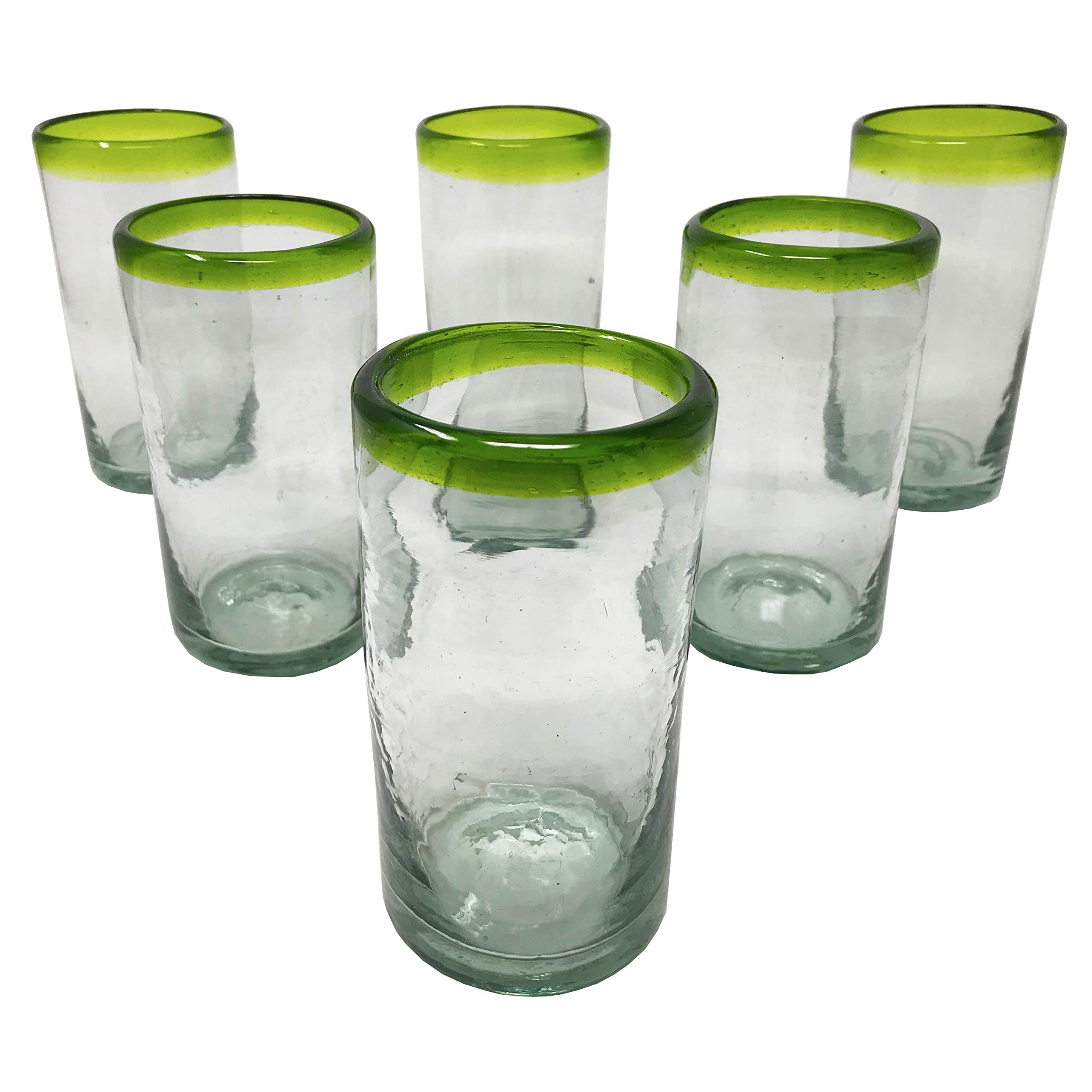 LA MEXICANA Mexican Hand Blown Drinking Glasses Cobalt Clear Green Rim Recycled Glass, 16 oz. (set of 6), Green Style