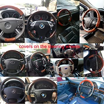 "Universal Holz Lenkradbezug for Toyota Land Cruiser Hyundai Jeep Mazda Audi 15/"""