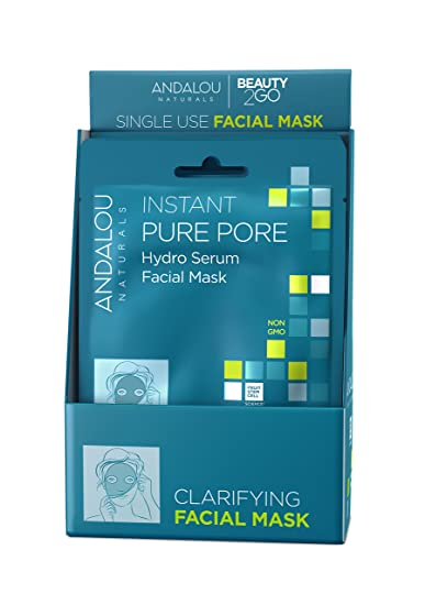 Andalou Naturals Instant Pure Pore Hydro Serum Facial Mask, 0.6 Fluid Ounce, 6 Count