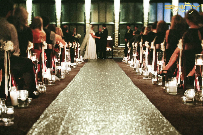 Matt Gold-Sequin Aisle Runner-4FTx40FT Wedding Sequin Carpet Aisle Runner for Wedding/Party/Event/Christmas by ShiDianYi