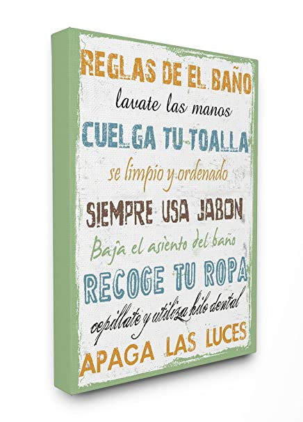 Stupell Home Décor Reglas De El Bano Multicolor Stretched Canvas Wall Art, 16 x 1.5
