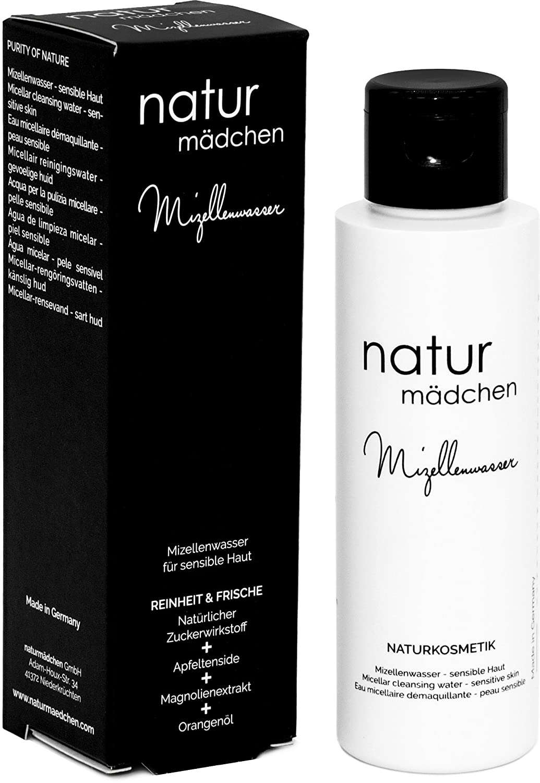 naturmädchen Mizellenwasser mit Apfel-Tensiden, Magnolienextrakt und natürlichem Zuckerwirkstoff, 100ml vegane Naturkosmetik/Made in Germany naturmädchen GmbH nm1007
