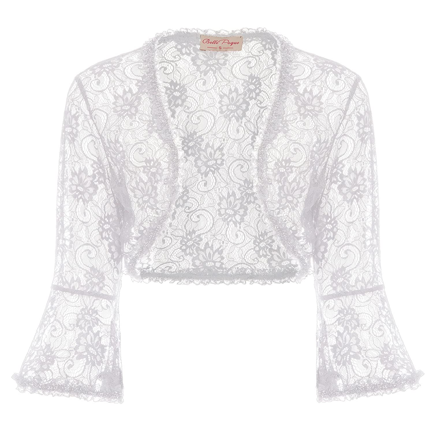 Belle Poque Ladies Elegant 3/4 Sleeve Lace Wedding Bridesmaid Shrug Bolero Cardigan Top GF593