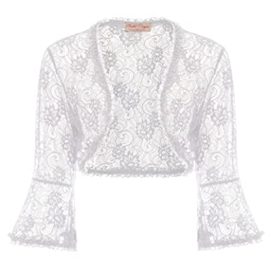 Image Unavailable. Image not available for. Color  Belle Poque Women s Lace  Shrug Jacket Long Sleeve Bridal Cardigan Bolero 07bb97273