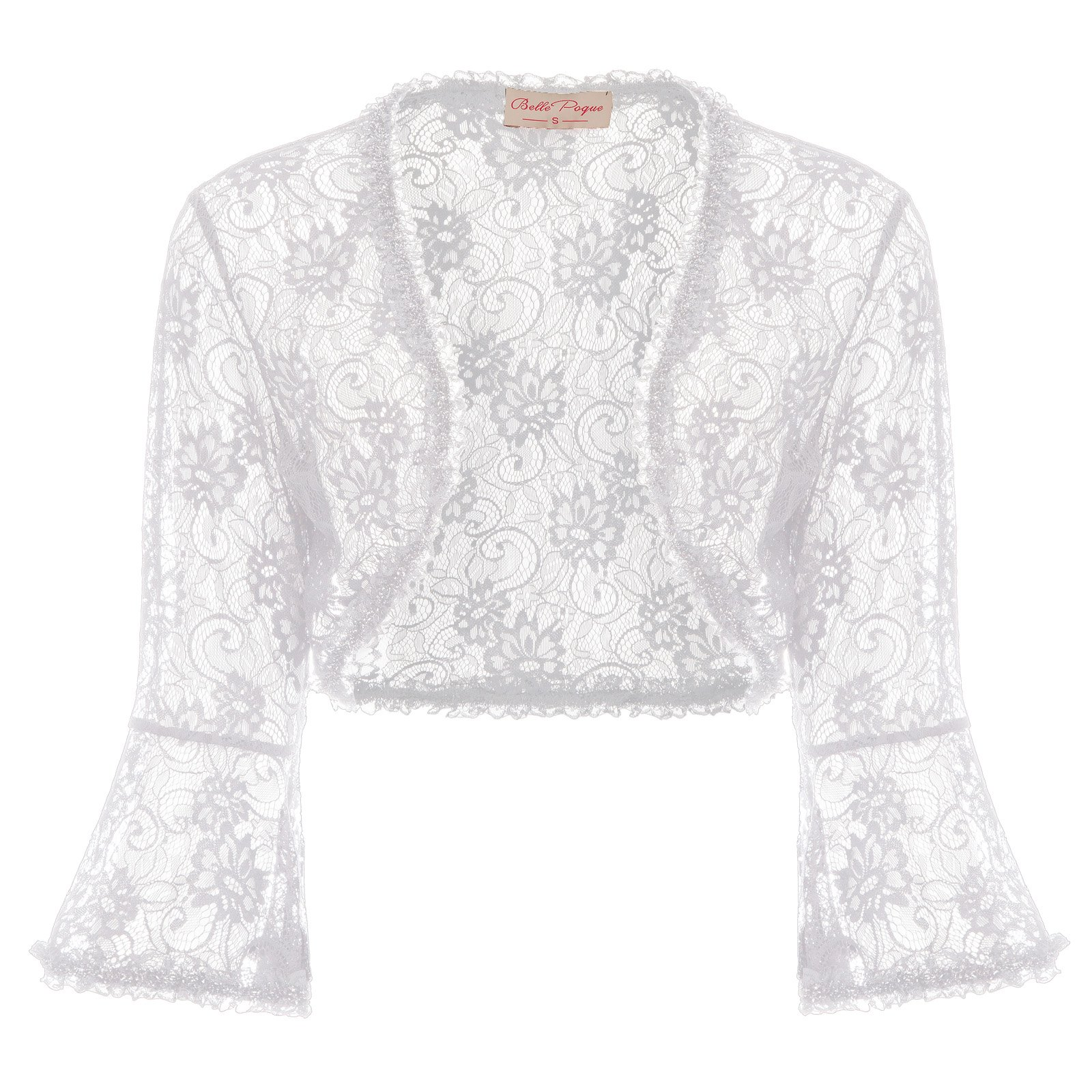 JS Fashion Vintage Dress Ladies Floral Lace Shrug Bolero Cardigan Crop Top (XXL, White 593-2)