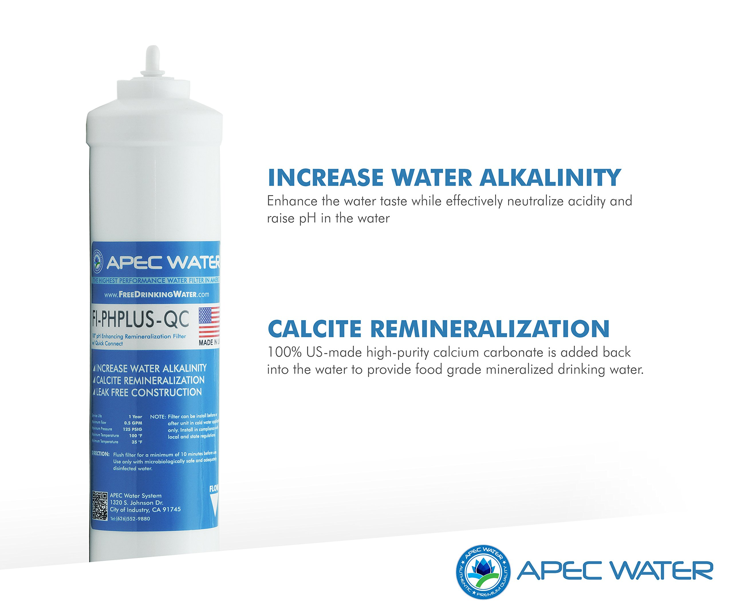 APEC Top Tier Alkaline Mineral pH+ 75 GPD 6-Stage Ultra Safe Reverse Osmosis Drinking Water Filter System (ESSENCE ROES-PH75) by APEC Water Systems (Image #4)