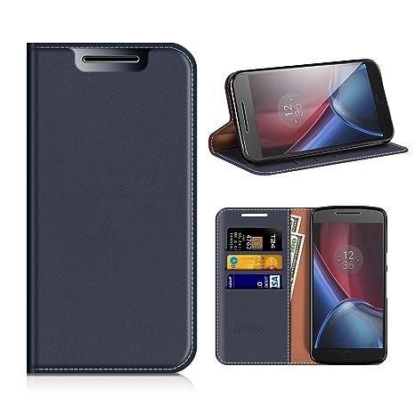 Funda Motorola Moto G4, Mobesv Funda Cuero Motorola Moto G4 Plus, Carcasa en libro, Ranuras para Tarjetas, Soporte Para Motorola Moto G4, G4 Plus - ...