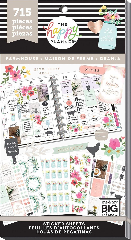 MAMBI Create 365 The Happy Planner 601 pc Sticker Book Farmhouse Big