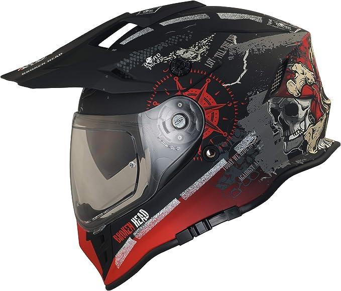 Broken Head Road Pirate Vx2 Motorradhelm Mit Sonnenblende Mx Cross Helm In Schwarz Rot Größe M 57 58 Cm Auto