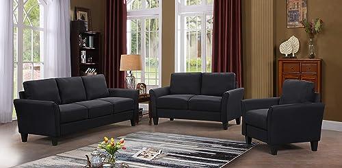 Harper Bright Designs Living Room Sets Furniture Armrest Sofa Single Chair Sofa Loveseat Chair 3-Seat Sofa, Black