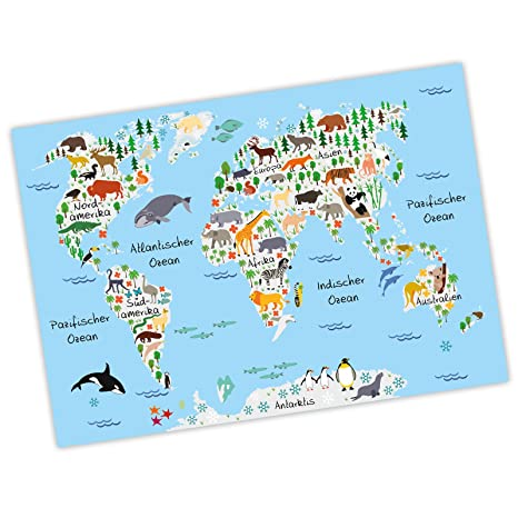 Nikima Kinder Weltkarte Grau In 3 Grossen A3 A2 A1 Poster