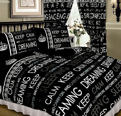Keep Calm and Carry On negro, de funda nórdica para cama de matrimonio/juego
