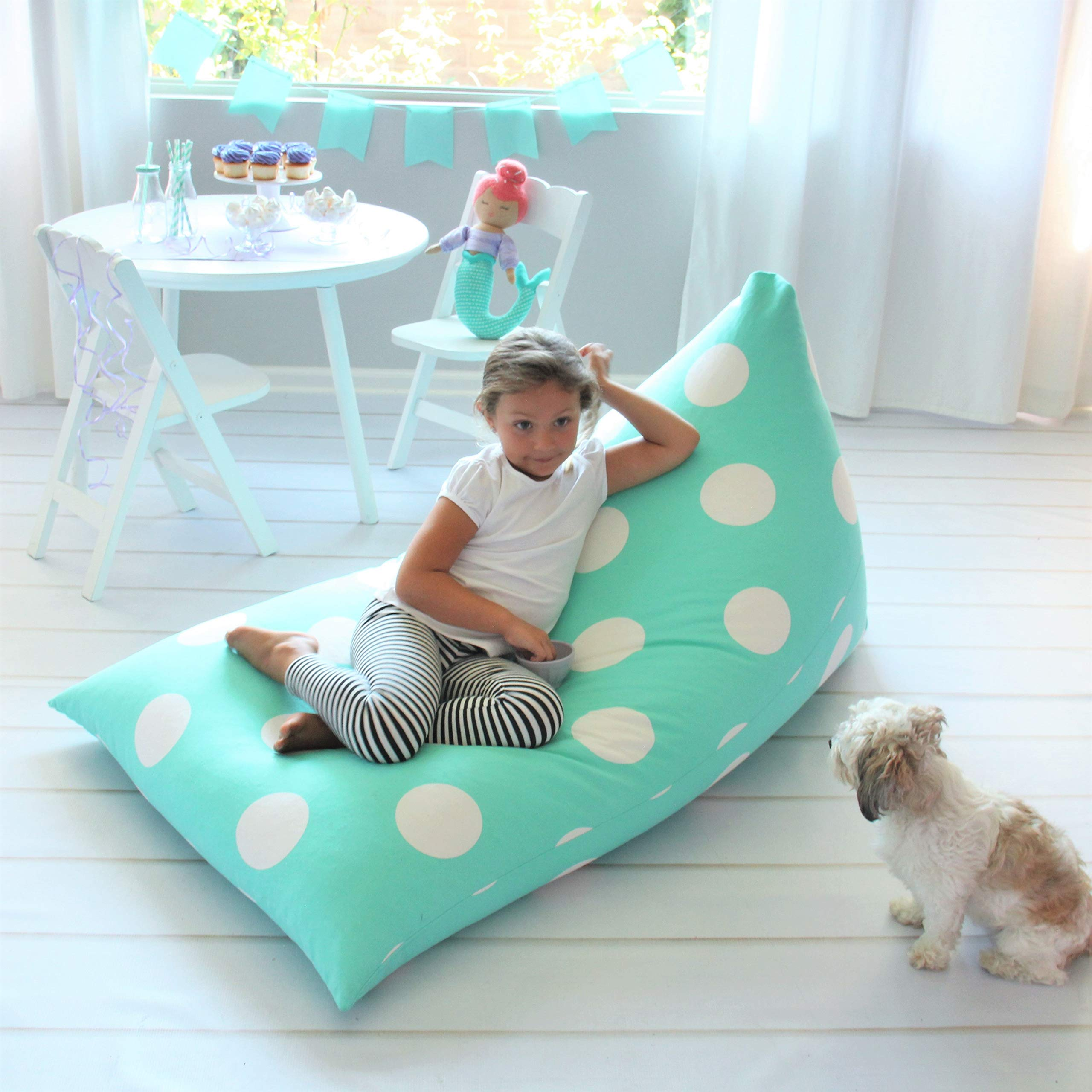 Butterfly Craze Stuffed Animal Storage Bean Bag Chair - Stuff 'n Sit Toy Bag Floor Lounger for Kids, Teens and Adult |Extra Large 200L/52 Gal Capacity |Premium Cotton Canvas (Teal) by Butterfly Craze