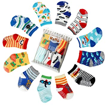 a75282886ce82 6 pair Non Skid Anti Slip Slipper Cotton Crew Socks With Grips For Baby  Toddler Boys, Future Founder