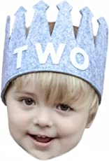 """Second""""TWO"""" Birthday Baby Boy Gray White Party Crown Hat"""