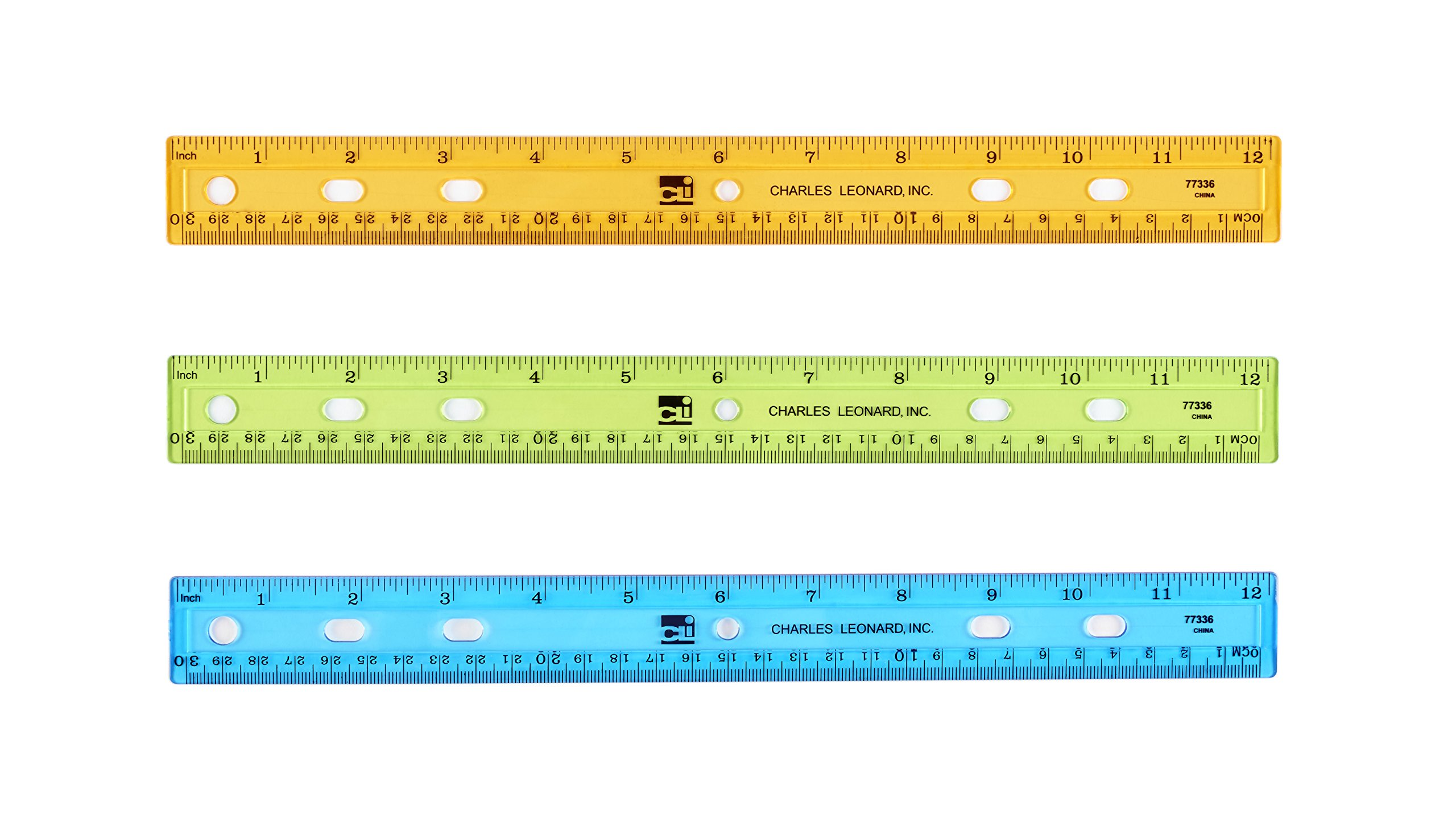 Charles Leonard Plastic Ruler, Double Bevel, 12 Inches, Translucent Assorted Colors, 36-Pack (77336)