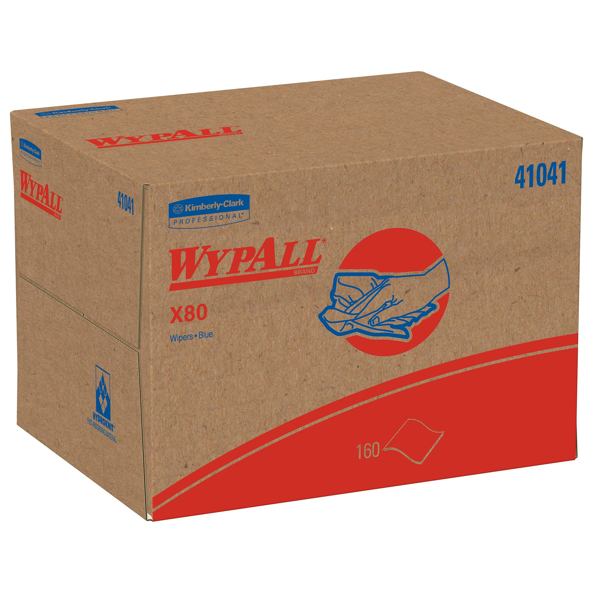 Wypall X80 Reusable Wipes (41041), Extended Use Cloths BRAG Box Format, Blue, 160 Sheets/Box; 1 Box/Case